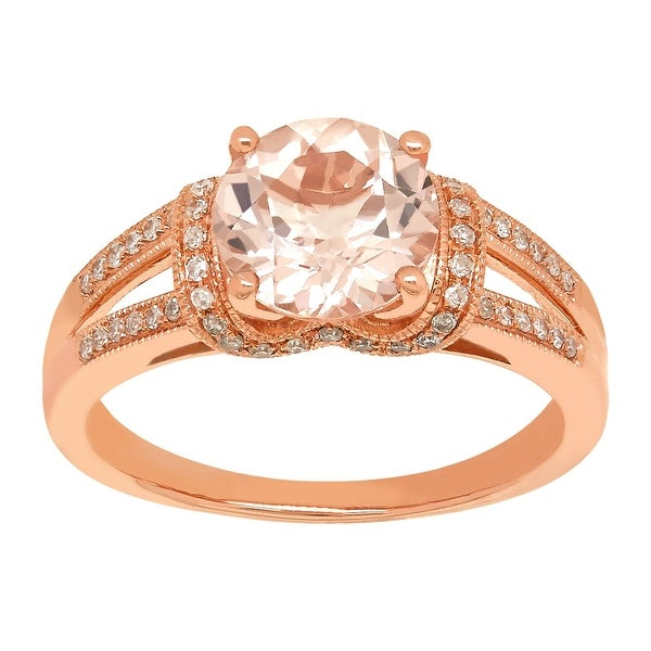 1 7/8 ct Natural Morganite & 1/5 ct Diamond Ring in 14K Rose Gold - Pink