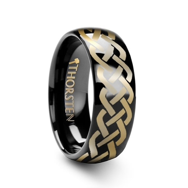 THORSTEN - IDASON Polished Domed Black Tungsten Ring with Celtic Knot Design