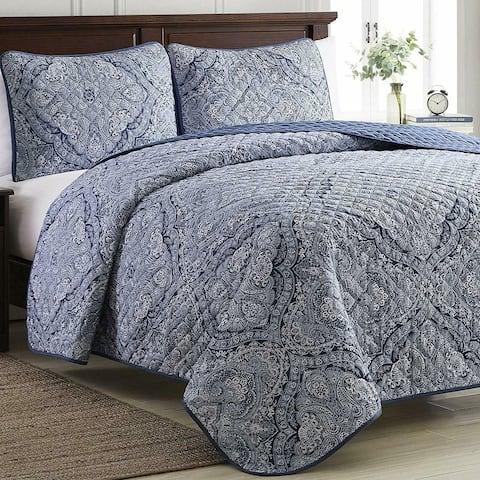 3 Piece Bedset Quilt King Size Medalion Blue