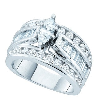 14k White Gold Marquise Natural Diamond EGL Certified Bridal Wedding Anniversary Band 2.00 Cttw