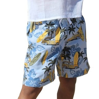 Azul Boys Gray Light Blue Retro Surf Drawstring Tie Swim Shorts