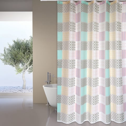 Extra Long Shower Curtain 72 x 78 Inch MSV France Polyester Fabric Patchwork Look Mellow