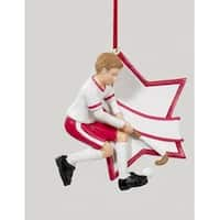 """3"""" Red Boy Field Hockey Star Christmas Ornament for Personalization"""