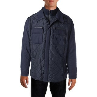 Michael Kors Mens Quilted Wool Trim Coat