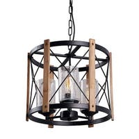 3 light wood & glass black pendant light fixture