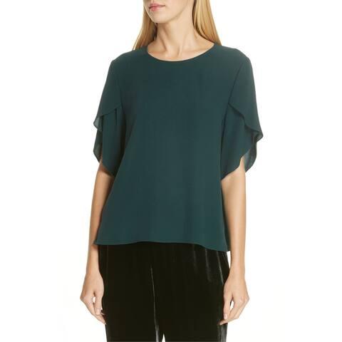 Eileen Fisher Womens Blouse Emerald Green Size XS Ruffle Tulip Sleeve