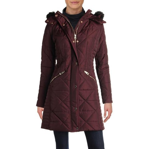 Guess Womens Parka Coat Winter Faux Fur