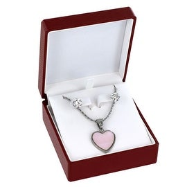 Stainless Steel Dyed Mother of Pearl Necklace and CZ (8mm) Earring Set