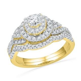 10kt Yellow Gold Womens Natural Diamond Round Bridal Wedding Engagement Ring Band Set 3/4 Cttw - White