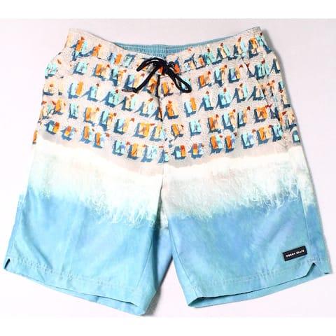 Perry Ellis Mens Swimwear Blue Size Small S Colorblock Drawstring Trunks