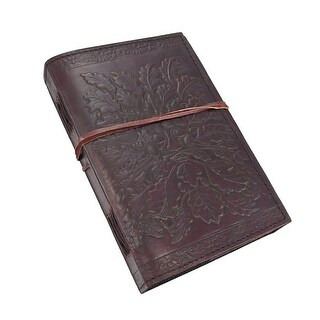 Embossed Leather Greenman 120 Page Unlined Dream Book - brown