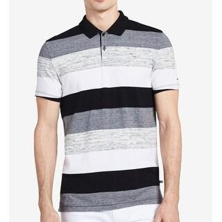Calvin Klein NEW Black Men's Size Large L Polo Rugby Stripe Shirt