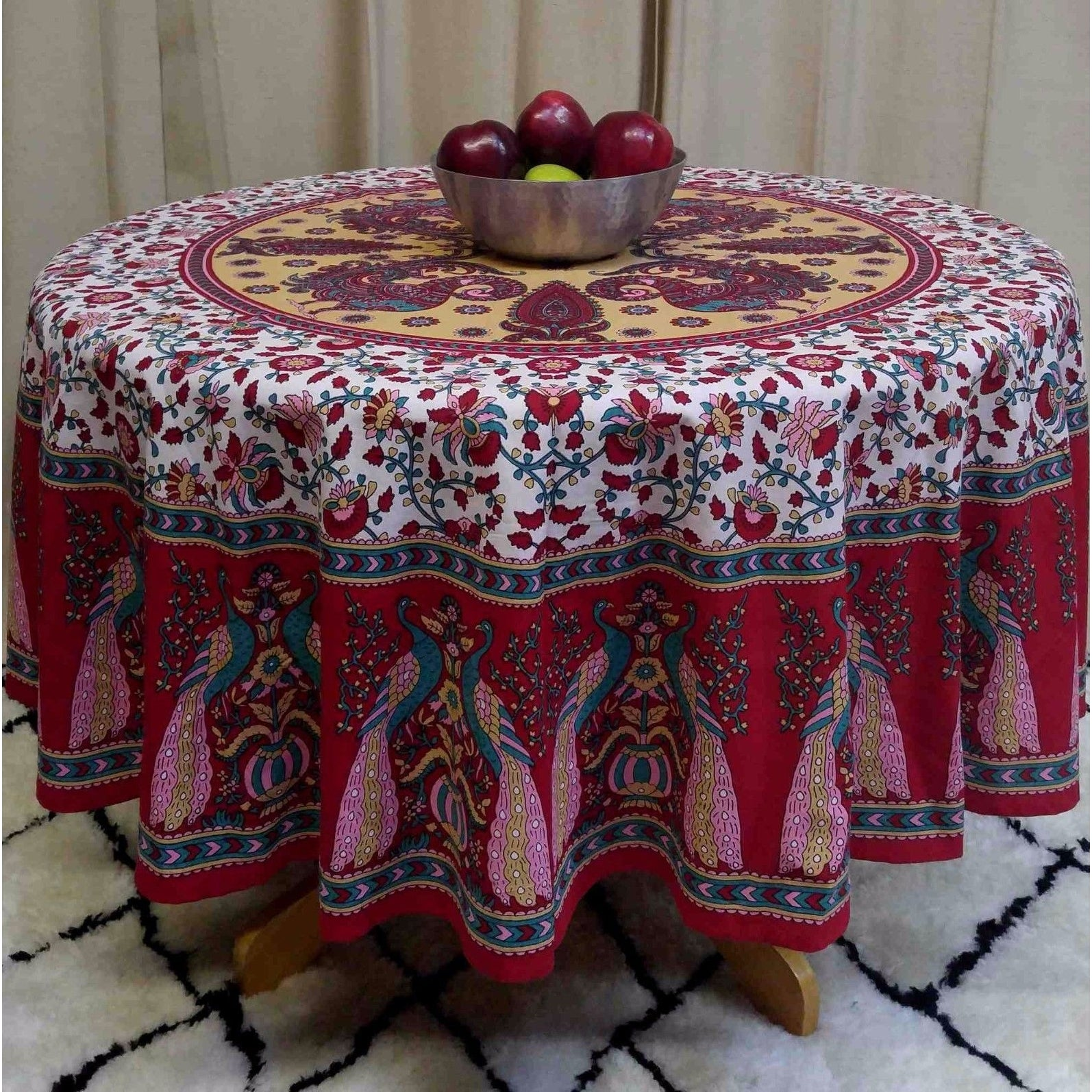 Cotton Peacock Floral Tablecloth Round Blue Green Red Tan - 72 Inches - Thumbnail 3