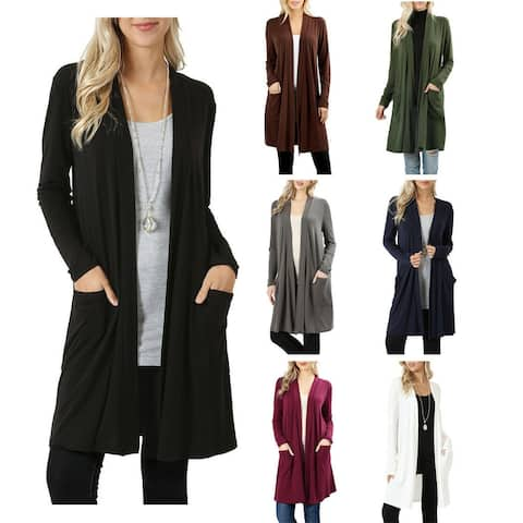 NioBe Clothing Womens Slouchy Draped Open Long Cardigan