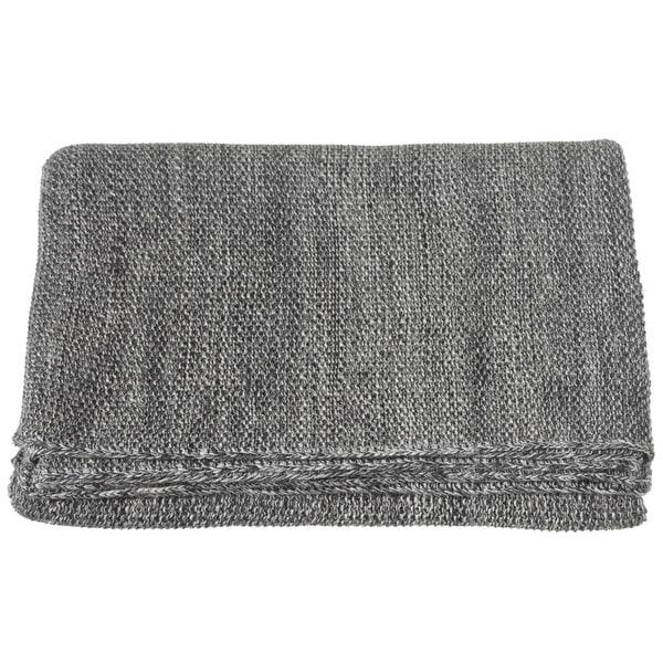 """Grey Marled Seed Stitch Knit Rectangular Throw Blanket 60"""" X 50"""""""