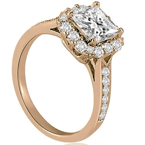 1.42 cttw. 14K Rose Gold Halo Princess And Round Cut Diamond Engagement Ring