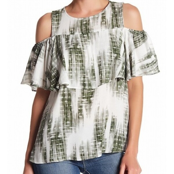 f5c51fb93f8b0 Shop Bobeau NEW Green Tie-Dye Women s Medium M Ruffled Cold-Shoulder Blouse  - Free Shipping On Orders Over  45 - Overstock.com - 18372452