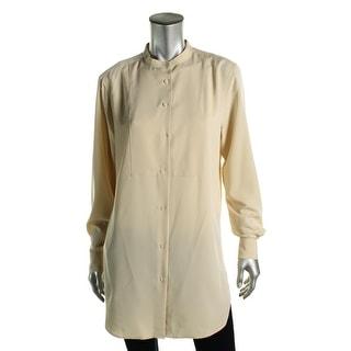 Lauren Ralph Lauren Womens Button-Down Top Mandarin Collar Long Sleeves