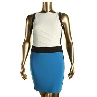 Lauren Ralph Lauren Womens Petites Colorblock Pleated Wear to Work Dress