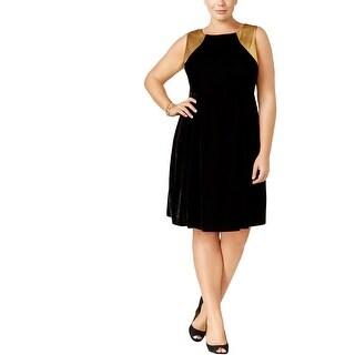 NY Collection Womens Plus Party Dress Velvet Metallic
