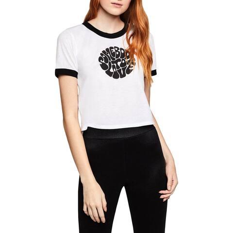 BCBGeneration Womens Somebody To Love Slogan T-Shirt Crop Short Sleeves