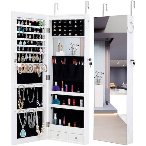 Bedroom Simple Jewelry Storage Mirror Cabinet With LED Lights