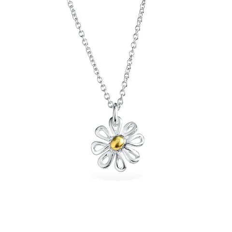 Delicate Two Toned Daisy Flower Pendant Charm Necklace For Women For Teen 14k Gold Plated 925 Sterling Silver With Chain
