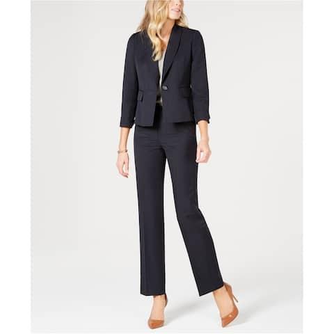 Le Suit Womens Shawl Collar One Button Blazer Jacket, Blue, 16