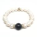"""Freshwater Pearl & Black Onyx Joy 7"""" Bracelet - Thumbnail 1"""