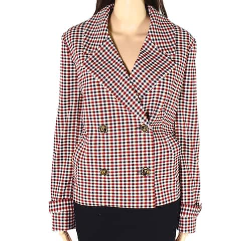 Dennis Basso Womens Jacket Red Size 14 Luxe Crepe Double Breasted