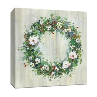 "PTM Images 9-147452  PTM Canvas Collection 12"" x 12"" - ""Woodgrain Wreath"" Giclee Flowers Art Print on Canvas"