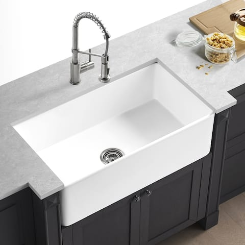 "Corvus Batavia 30"" x 18"" Farmhouse Fireclay Single Bowl Kitchen Sink"