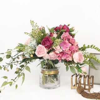 G Home Collection Pink Rose and Green Leaf Bouquet with Glass Vase