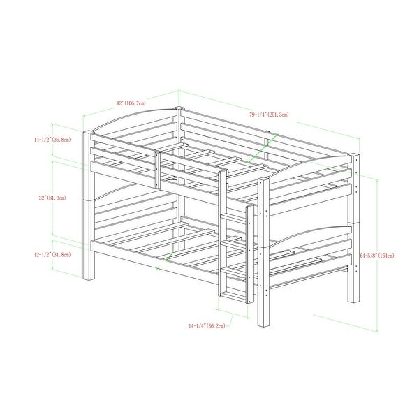 Taylor & Olive Christian Wood Twin Over Twin Bunk Bed - Espresso