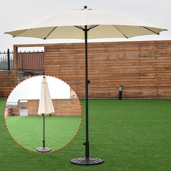 Costway 8.2Ft Height Adjustable Outdoor Patio Umbrella Market Sun Shade Beech beige