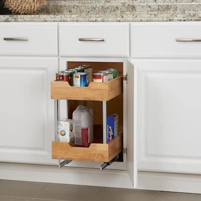Household Essentials Glidez Wood 2-Tier Sliding Cabinet Organizer