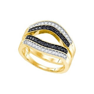 10kt Yellow Gold Womens Round Black Colored Diamond Ring Guard Wrap Solitaire Enhancer 1/2 Cttw - White