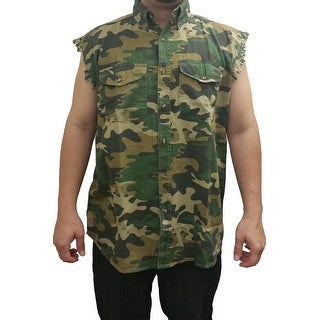 Men's Camo Sleeveless Denim Vest Camouflage Shirt 2 Front Pockets