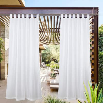 Pro SpaceWhite Sheer Outdoor Tab Top Curtain