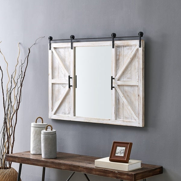 FirsTime & Co.® Hayloft Farmhouse Barn Door Mirror, American Crafted, White, Mirror, 36 x 2 x 24 in. Opens flyout.
