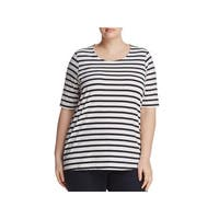 Junarose Womens Plus Holly Tunic Top Striped Short Sleeve