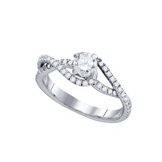 14k White Gold Womens Natural Round Diamond Solitaire Slender Woven Bridal Engagement Ring 3/4 Cttw