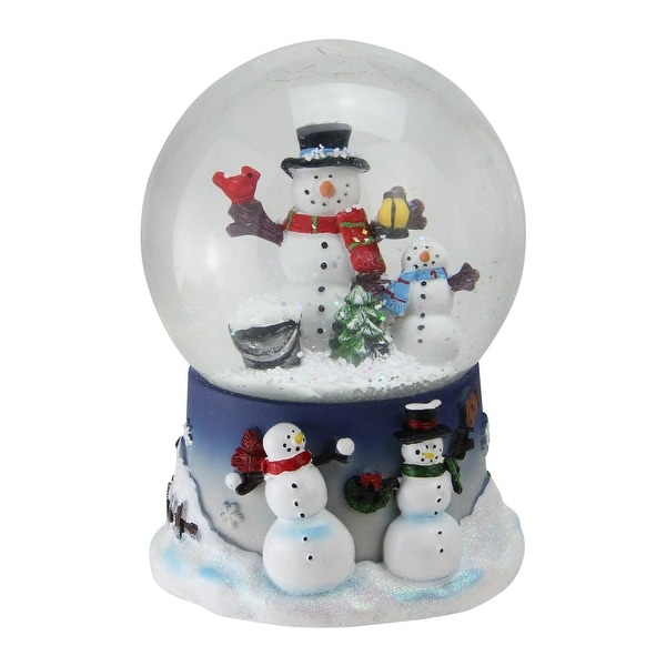 "6.75"" Snowman and Snow-Son Musical Christmas Snow Globe Glitterdome - WHITE"
