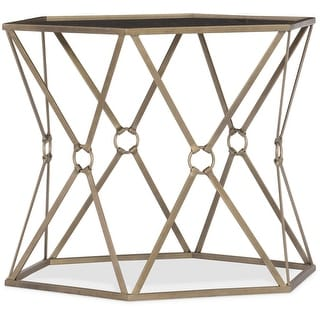 """Hooker Furniture 5593-50001-BLK  24"""" Wide Metal and Glass Accent Table - Black with Metal"""