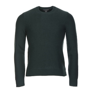 Bloomingdales Cashmere Crewneck Herringbone Sweater Hunter Green Small - S
