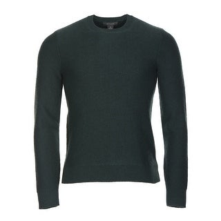 Bloomingdales Cashmere Herringbone Crewneck Sweater Small Hunter Green Knitwear