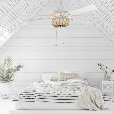 The Curated Nomad Delilah 52-inch Cream Wood Chandelier LED Ceiling Fan