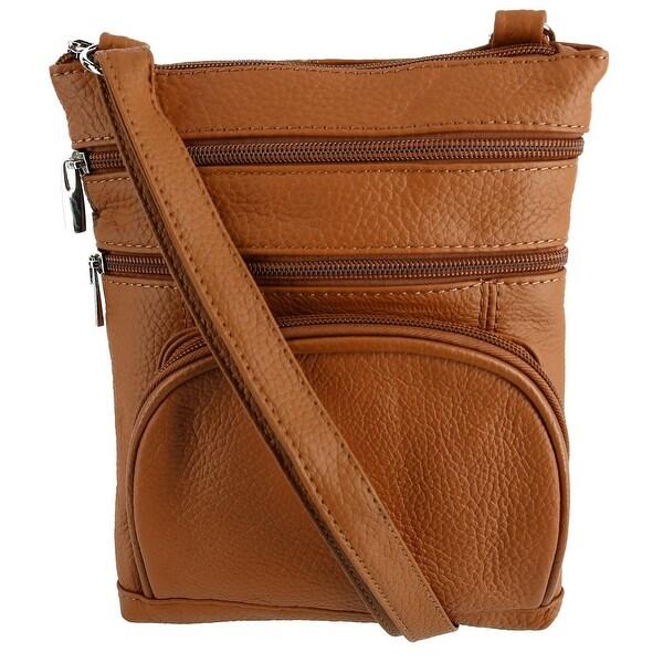 CTM® Women's Multi Pocket Leather Crossbody - one size