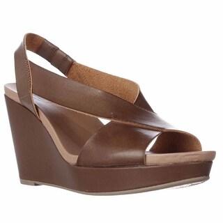 Dr. Scholl's Meanit Cross Strap Wedge Sandals - Dark Saddle