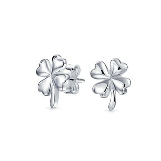 Bling Jewelry Good Luck Four Leaf Clover Stud earrings 925 Sterling Silver 11mm